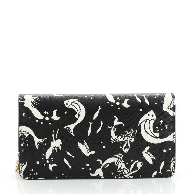 Black Prada: Wallet on Chain Printed Saffiano Leather For Sale