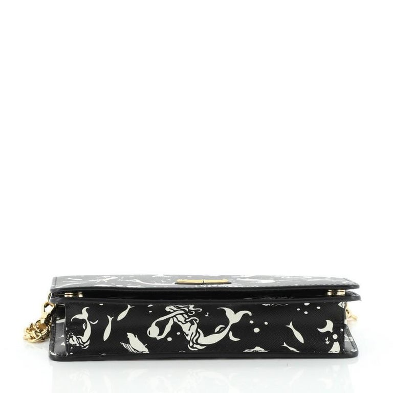 Women's or Men's Prada Wallet on Chain Printed Saffiano Leather For Sale