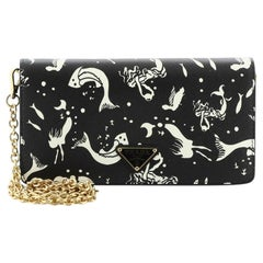 Prada Wallet on Chain Printed Saffiano Leather