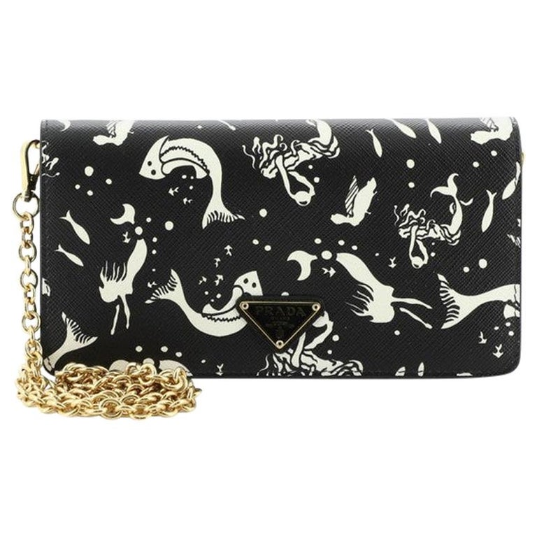 Prada Wallet on Chain Printed Saffiano Leather For Sale
