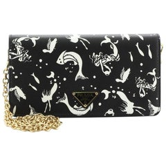 Prada: Wallet on Chain Printed Saffiano Leather