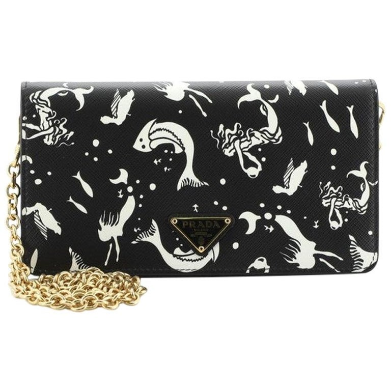 Prada: Wallet on Chain Printed Saffiano Leather For Sale