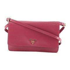 Prada Wallet on Strap Saffiano Leather Small