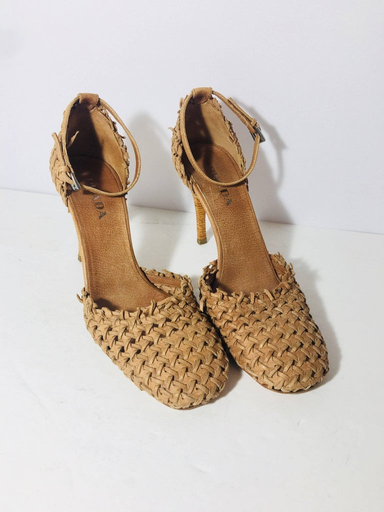 Prada Ankle Strap Woven Leather Closed Toe Heels in Camel.