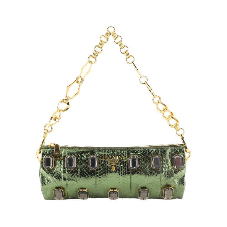 Prada Whips Pietre Shoulder Bag Embelished Snakeskin Medium For Sale