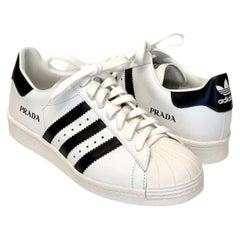 Prada White and Black Adidas Superstar Sneakers