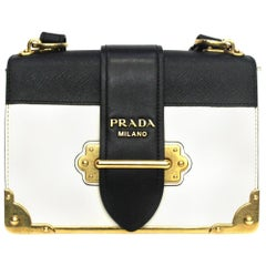 Prada White and Black Leather Cahier Bag