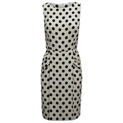 Prada White & Black Polka Dot Sleeveless Dress