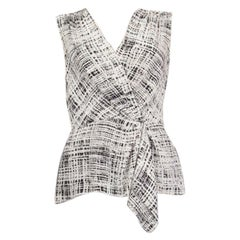 PRADA white & black silk Sleeveless V-Neck Blouse Shirt 44 L