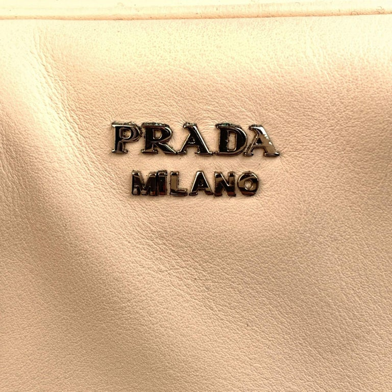 Prada White Blue Soft Leather Inside Bag Satchel with Strap 1BB009 In Excellent Condition For Sale In Rome, Rome