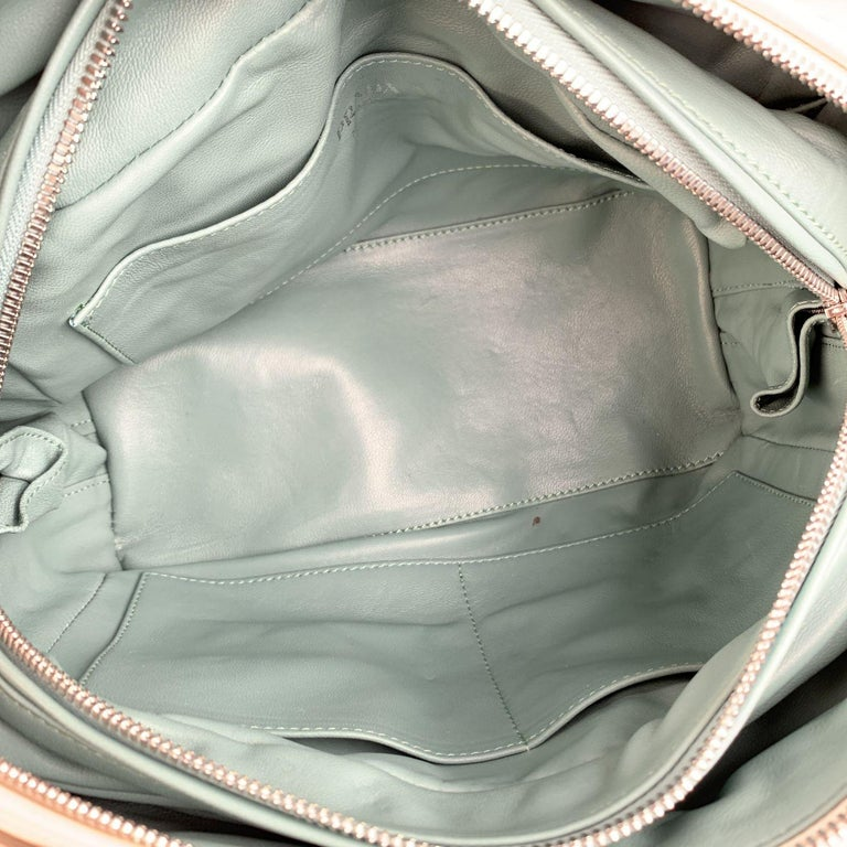 Prada White Blue Soft Leather Inside Bag Satchel with Strap 1BB009 For Sale 1
