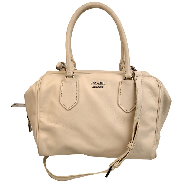 Prada White Blue Soft Leather Inside Bag Satchel with Strap 1BB009 For Sale
