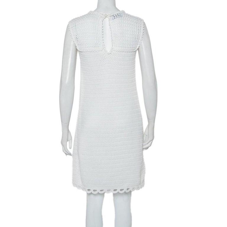 Gray Prada White Crochet Sleeveless Mini Dress M For Sale