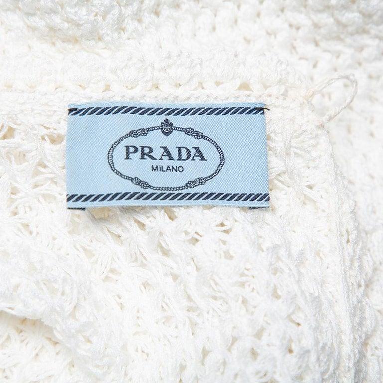 Prada White Crochet Sleeveless Mini Dress M In Excellent Condition For Sale In Dubai, Al Qouz 2