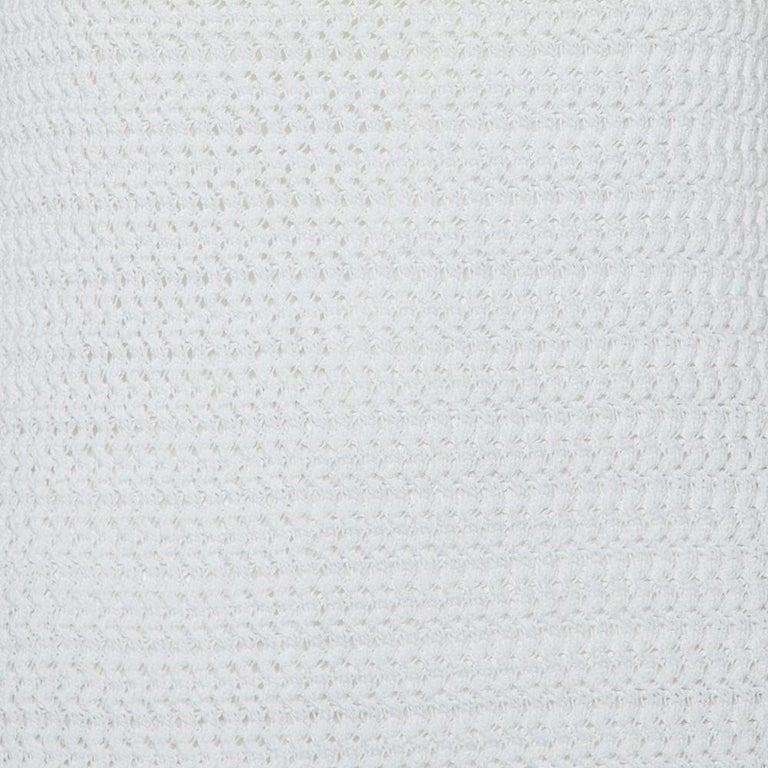 Women's Prada White Crochet Sleeveless Mini Dress M For Sale