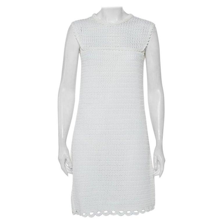 Prada White Crochet Sleeveless Mini Dress M For Sale