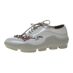 Prada White Crystal Embellished Leather Lace Up Sneakers Size 37.5