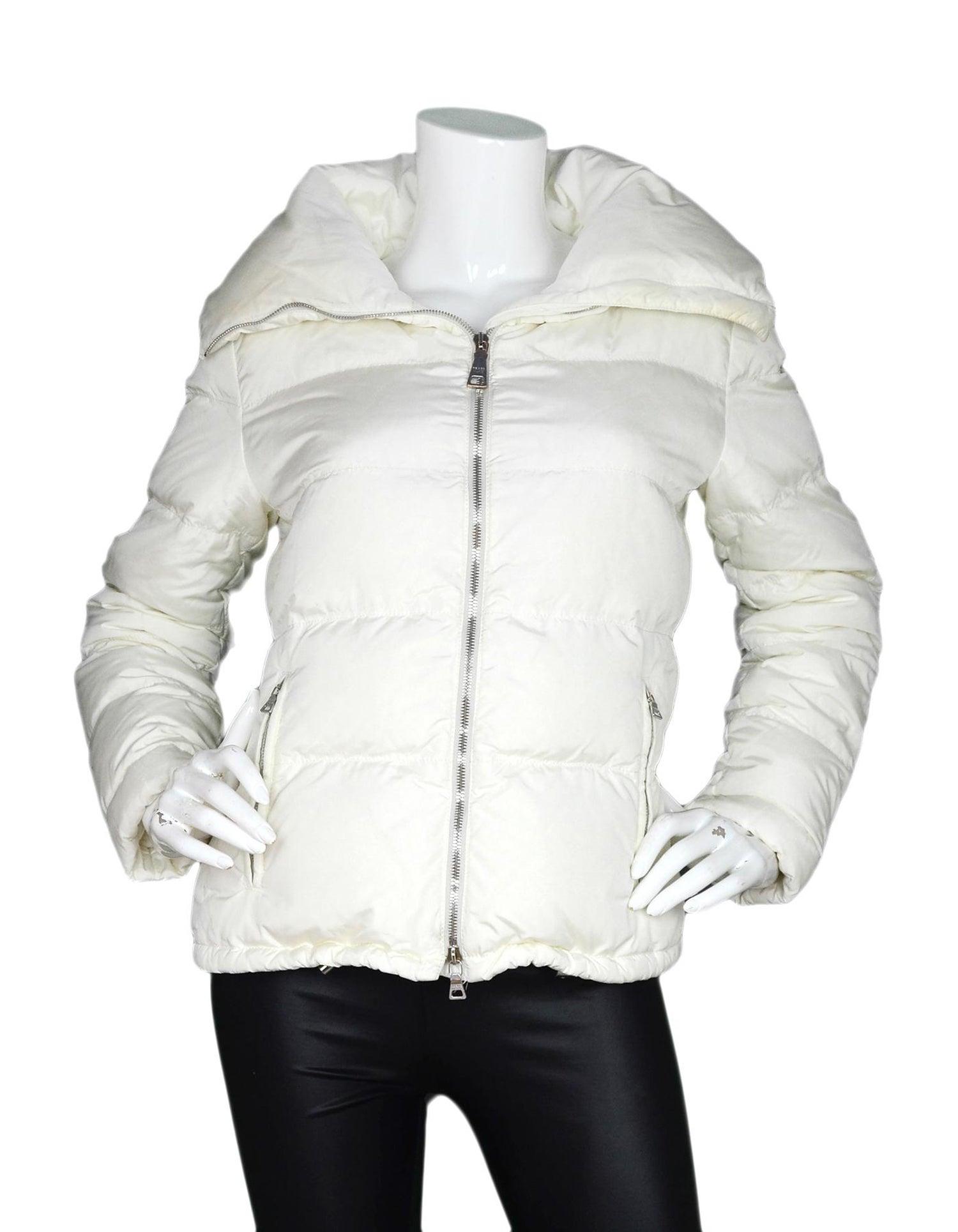 923e218a64c Prada White Down Puffer Jacket Sz 8 For Sale at 1stdibs