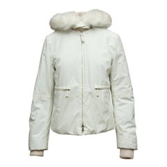 Prada White Fox Fur-Trimmed Down Jacket w/ Belt Bag