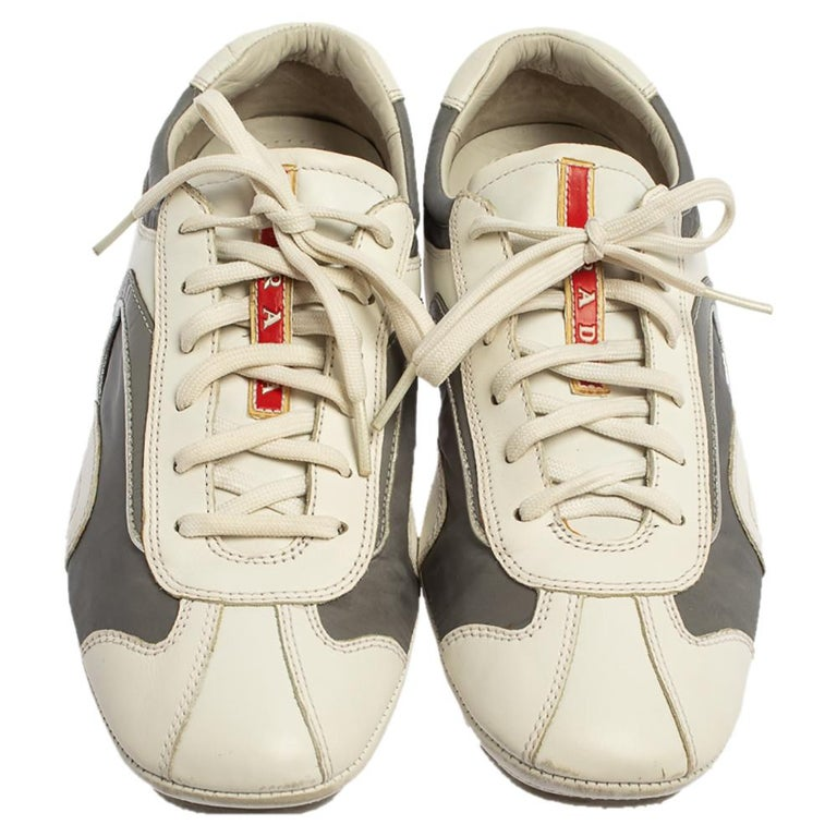 Beige Prada White/Grey Nylon And Leather Low Top Sneakers Size 41.5 For Sale