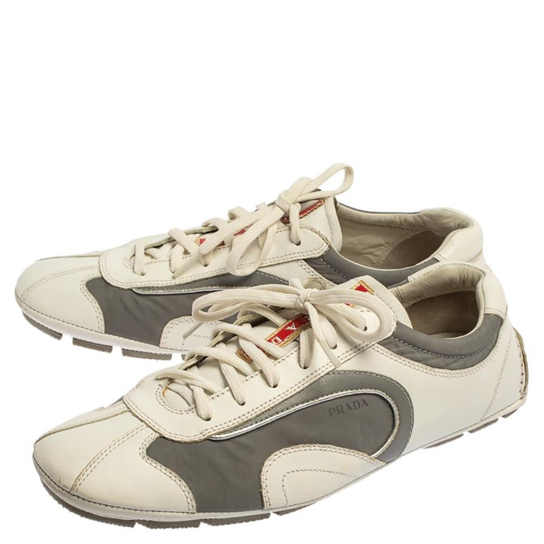 Men's Prada White/Grey Nylon And Leather Low Top Sneakers Size 41.5 For Sale