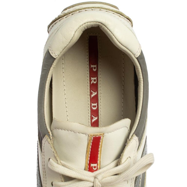 Prada White/Grey Nylon And Leather Low Top Sneakers Size 41.5 For Sale 1