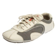 Prada White/Grey Nylon And Leather Low Top Sneakers Size 41.5