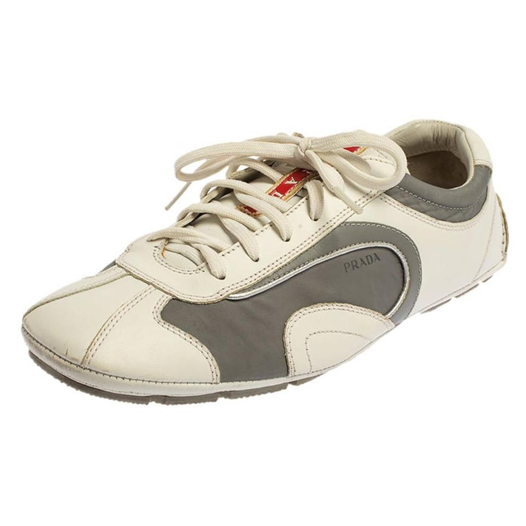 Prada White/Grey Nylon And Leather Low Top Sneakers Size 41.5 For Sale