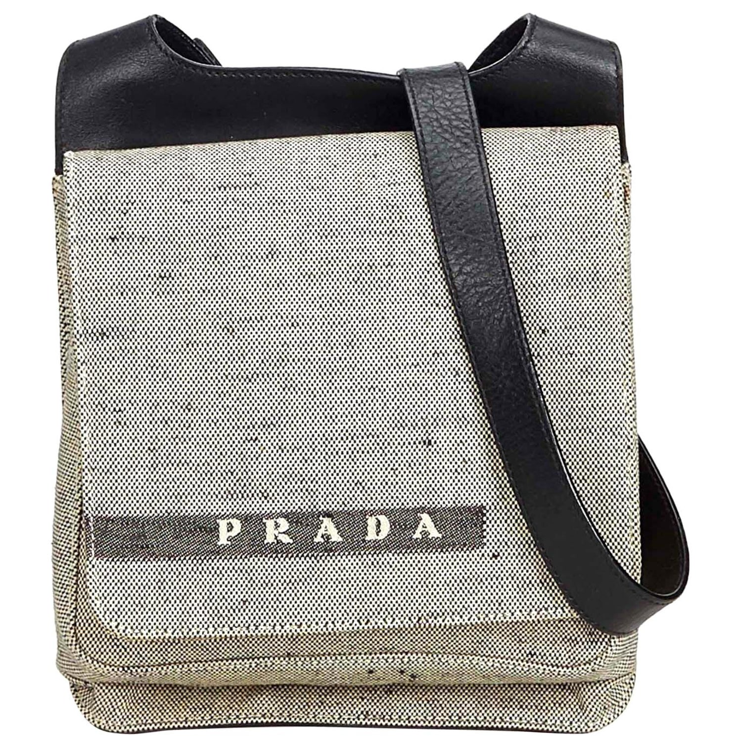 8108597ebe7363 Prada White Ivory Canvas Fabric Crossbody Bag Italy For Sale at 1stdibs