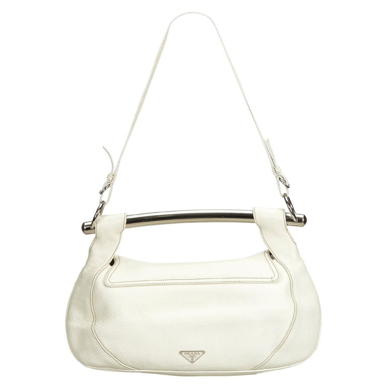 9df56aa8030b98 Prada White Ivory with Silver Leather Bar Shoulder Bag Italy w/ Dust Bag  For Sale