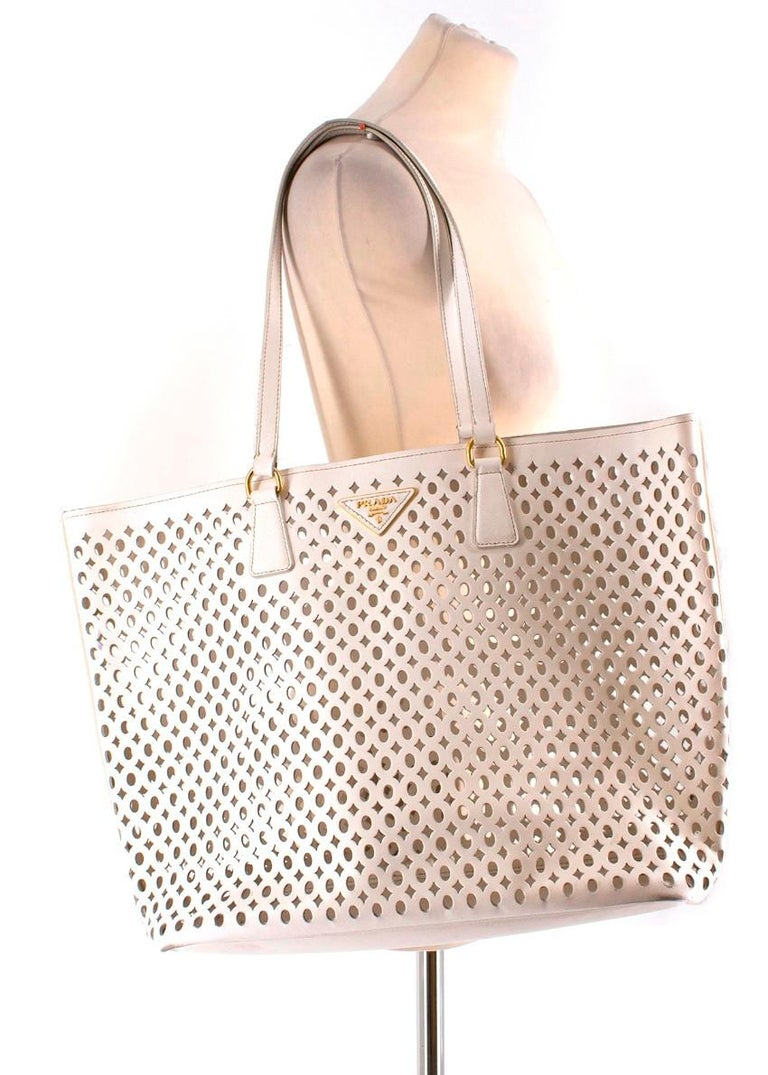 19c38367609ec4 Prada White Laser Cut-out Shoulder Tote - Spacious open shoulder tote -  White laser
