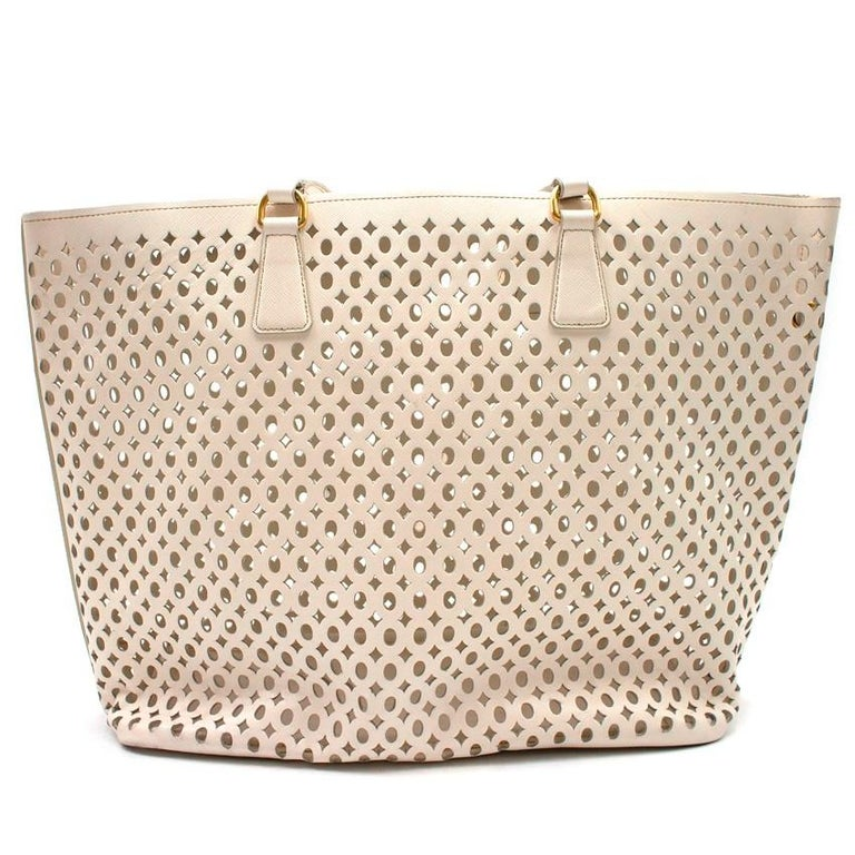 05d2f9db595fff Prada White Laser Cut-out Shoulder Tote For Sale 2