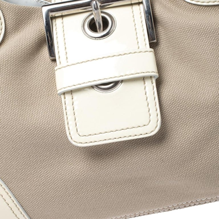 Prada White Leather and Canvas Shoulder Bag For Sale 6