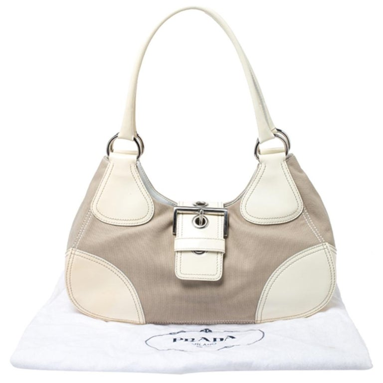 Prada White Leather and Canvas Shoulder Bag For Sale 8