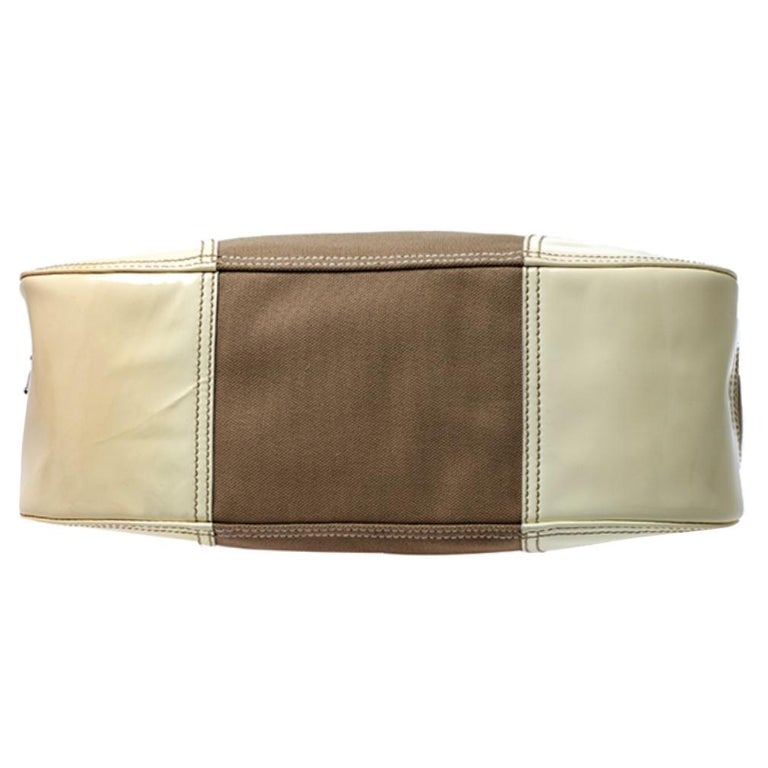 Prada White Leather and Canvas Shoulder Bag For Sale 1