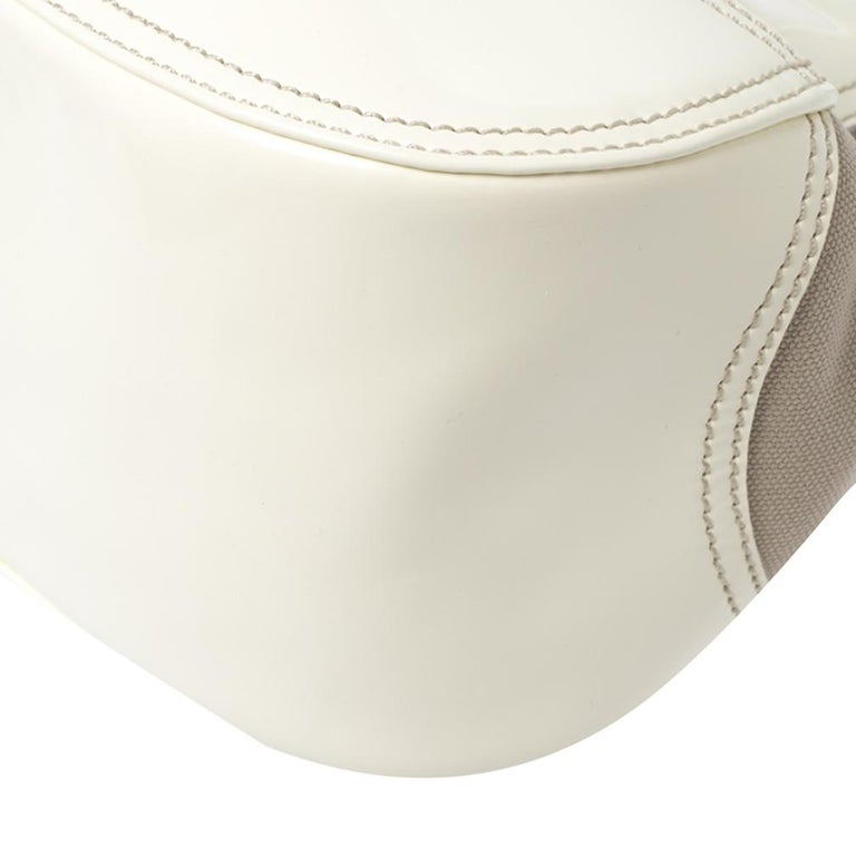 Prada White Leather and Canvas Shoulder Bag For Sale 4