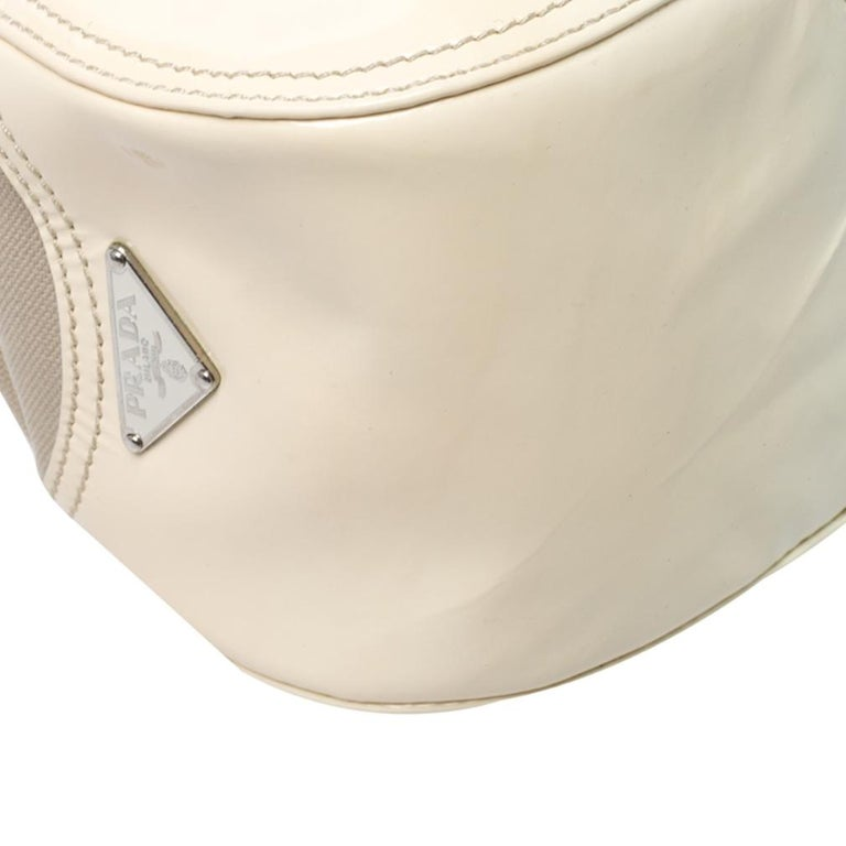 Prada White Leather and Canvas Shoulder Bag For Sale 5
