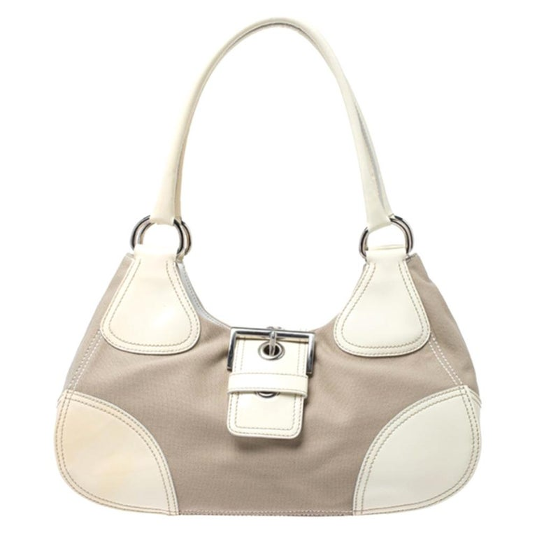 Prada White Leather and Canvas Shoulder Bag For Sale