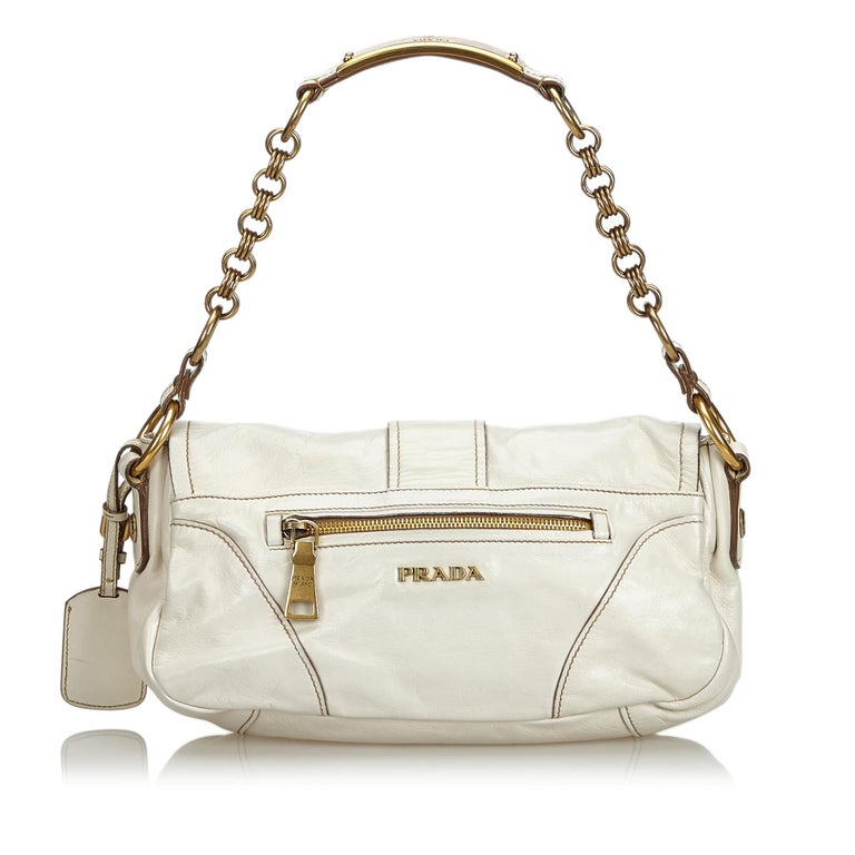 378c24cea8a2bd Prada White Leather Baguette In Good Condition For Sale In Orlando, FL