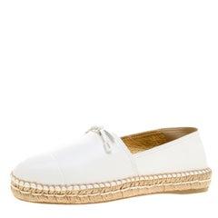 Prada White Leather Bow Detail Espadrilles Size 37.5