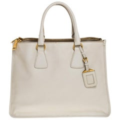 Prada White Leather Double Zip Tote