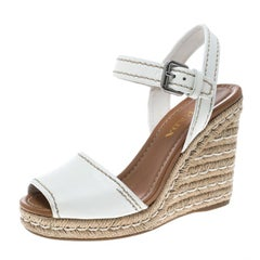 Prada White Leather Flaviana Open Toe Ankle Strap Wedge Sandals Size 38