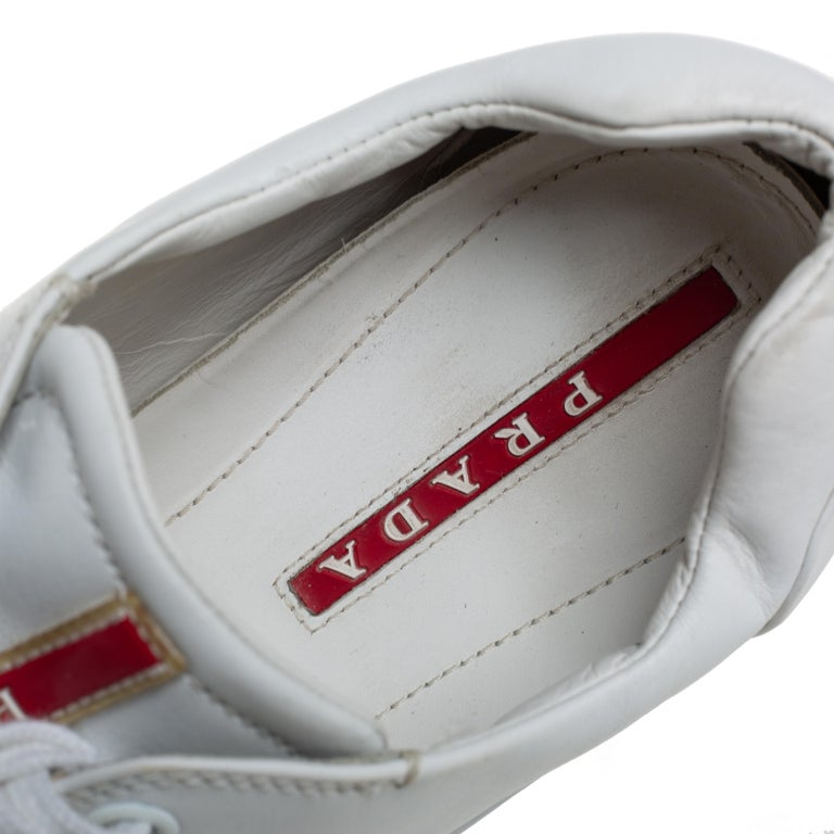 Women's Prada White Leather Low Top Sneakers Size 42 For Sale