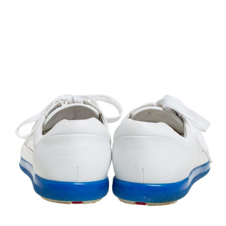 Prada White Leather Low Top Sneakers Size 42 For Sale 1