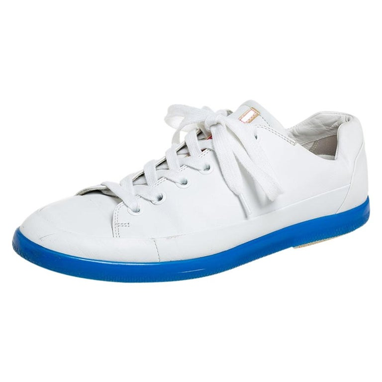 Prada White Leather Low Top Sneakers Size 42 For Sale