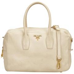 Prada White Leather Satchel