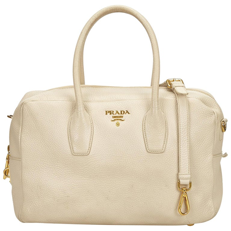 17dc7232ff1c86 Prada White Leather Satchel at 1stdibs