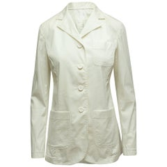 Prada White Long Sleeve Lightweight Blazer