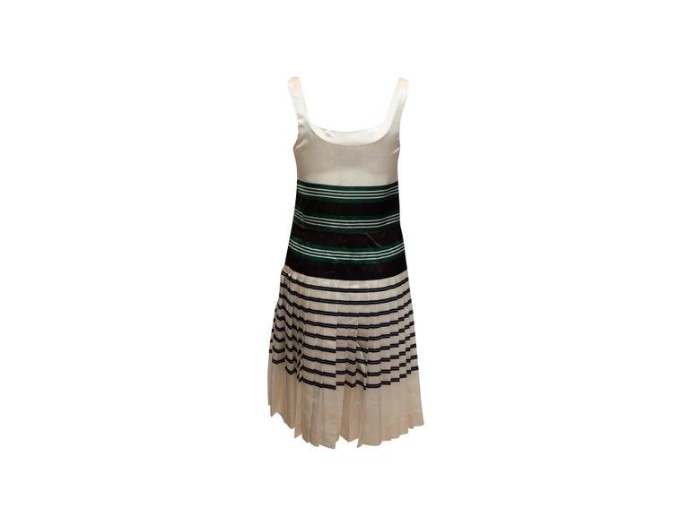 Brown Prada White & Multicolor Striped Sleeveless Dress For Sale