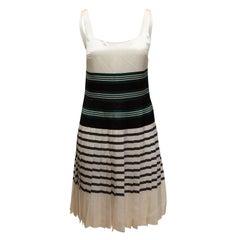 Prada White & Multicolor Striped Sleeveless Dress